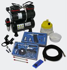 Profi Airbrush Kompressor Set AS196 2 Airbrushpistolen Drucktank 3 L Zubehör