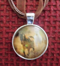 Silver tone Brown Western Horse Cabochon Pendant necklace Ribbon PLUS chain