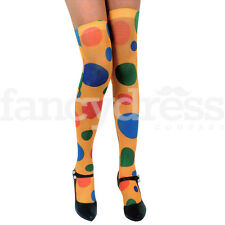 Ladies Girl Rainbow Clown Spot Polyester Over the Knee Stocking Thigh High Socks