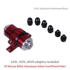 30 Micron Billet Aluminum Inline Fuel/Petrol Filter+Bracket Fitting AN6/AN8/AN10