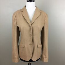Lands' End Women's Cashmere Wool Blend Blazer Jacket Size 10 Tan Brown Career
