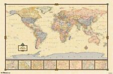 2013 WORLD MAP ANTIQUE STYLE POSTER CHART FOR CLASSROOM 34x22 NEW FREE SHIPPING