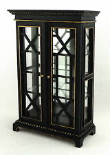 Dolls House Chinese China Cabinet Black Gold Glass Fronted Miniature Furniture