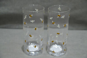 Pair Of (2) Bumble Bee Decal Botanical Discovery Hiball Highball Glasses 35cl