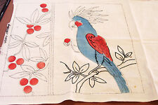 1940s Colored Transfer Embroidery Pattern Parrot Pillow Cover Beddings N9884