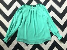 ☀WALLIS LADIES GREEN CHIFFON BLOUSE TOP☀Size 12☀Floaty long sleeves sleeved☀
