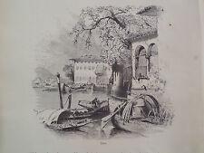 Lecco Lake Como Northern Italy Antique Engraving 1878