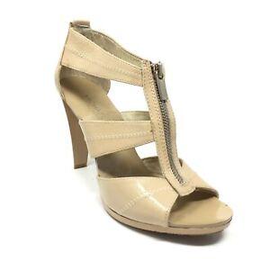 Women's Michael Kors Front Zip Sandals Heels Shoes Size 8 Nude Patent Leather