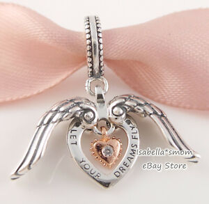 Genuine PANDORA CLUB 2021 Rose GOLD Plated ANGEL WINGS Dangle Charm 789296C01