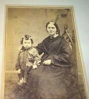 Antique American Civil War Era Fashion Mother & Cute Little Boy CDV Photo! US!