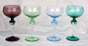 Murano Italian Wine Goblets 4 Art Glass Twisted Stem Venetian Empoli
