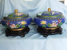 "Chinese Cloisonne Lidded Bowls Rare Pair Large 9"" d. with stands"