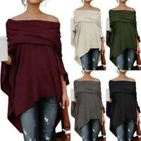Women Off Shoulder Long Sleeve Blouse Casual Tops Ladies Shirt Shawl Pullover UK