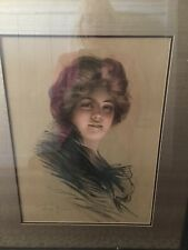 Original Lithograph Print Signed Philip Boileau 1903  Peggy Framed Matted