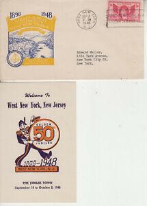 ELUSIVE ADVERTISING WEST NEW YORK N.J. SEP 181948 BEAUTIFUL CACHET DATA ENCLOSUR