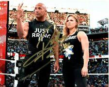 DWAYNE THE ROCK JOHNSON RONDA ROUSEY Signed WWE WRESTLING Photo w/ Hologram COA
