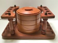 LARGE WOODEN  PIPE HOLDER WITH WOODEN HUMIDOR.... NICE!!