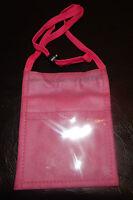 Pink Travel Pouch  Passport ID Holder Compact Security Money Shoulder Belt Bag