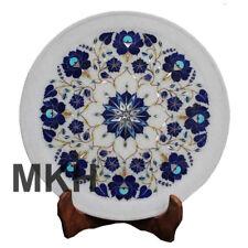 "12"" Marble Inlay Plate Stone Vintage Marquetry Pietradura Mosaic Serving Platter"