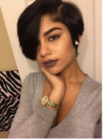Pre Plucked Virgin 100% Human Hair Side Part Full Wigs Brazilian No Lace Wig