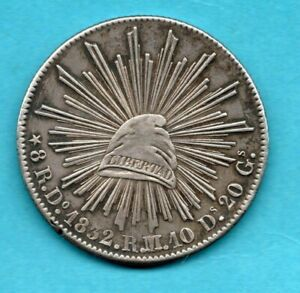 1832 MEXICO 8 REALES SILVER COIN. DURANGO MINT. RM/RL. VERY PLEASANT TONING.