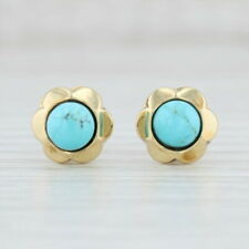 Blue Turquoise Flower Earrings 14k Yellow Gold Pierced Studs Solitaire