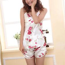 Sexy Women Satin Ice Silk Nightwear Pajama Rose Flower Sleepwear Nightdress New