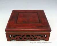 Solid Wood Carved Quartet Base Red Wooden Stand Base for Vase,Jar,figurine,bowl