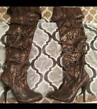 Beautiful Golden Brown Over The Knee Boots