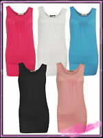 Ladies Front Pleated Plain Womens Vest Top Black Cerise Blue White UK S/M 8 10