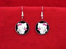 HELLO ANGEL KITTY WINGS HEART EARRINGS KAWAII EMO PINK