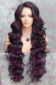 Black/Purple Extra Long Full Curly Heat OK Lace Front Human Hair Blend Wig STEZ