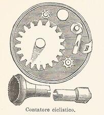 B2968 Contatore ciclistico - Xilografia d'epoca - 1926 old engraving