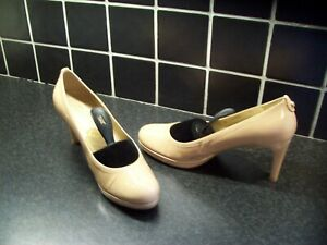 RUSSELL & BROMLEY Nude Patent Leather Court Shoes UK8.5