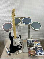 Wii Rock Band Bundle  - w/ Wired Drums, Guitar, Microphone, Dongle, Games