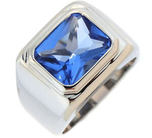 Light Sapphire Blue Stone Solitaire Silver Stainless Steel Mens Ring