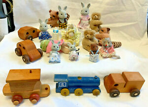 Mixed Lot Toys Cake Toppers Calico Critter Furry Pinchers Wood Cars Train Party