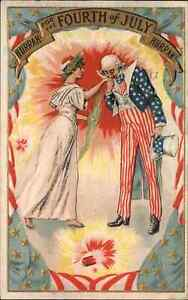 4th Fourth of July Uncle Sam Kisses Hand of Lady Liberty c1910 Postcard