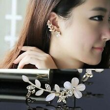 One Pair Fashion Flower Shape Rhinestone  Ear Cuff Clips Golden Stud Earrings