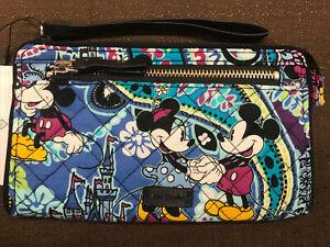 Vera Bradley Disney Mickey's Paisley Celebration Front Zip Wristlet Wallet #1