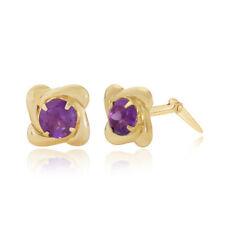 Amethyst Yellow Gold Fine Earrings