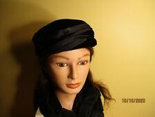 1960's vintage black velvet & satin pill box hat