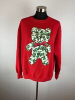Vintage Womens XL Ugly Christmas Sweatshirt Sweater Red White Holly Teddy Bear