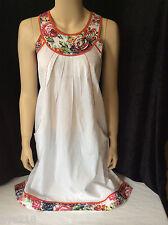 NEW wTAG Biba Peasant Long Top Tunic Boho Shirt Blouse M - L  36 White Red Kurti