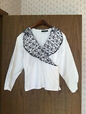 Women's Cullinane White Cotton Blouse With Black Lace Collar Size 8