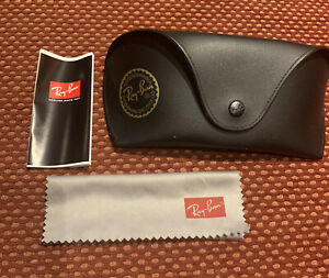 Ray-Ban Sun Glasses Oversized Case Black Leather Gold Logo with Cleaning Cloth