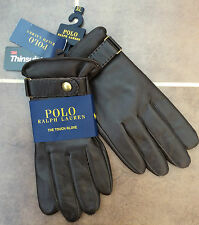 POLO RALPH LAUREN TECH FRIENDLY BROWN LEATHER GLOVES WITH THINSULATE LINING XL