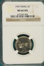 1942-P Ngc Ms66 5 Full Steps Jefferson Nickel! #B2810