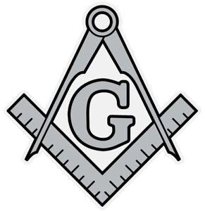 Masonic Silver Square and Compass Small Reflective Decal Sticker