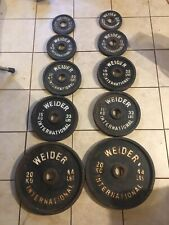 Vintage Weider International Olympic Weight Set 2 inch Plates Obo